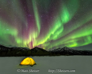 Glowing yellow tent set up under Aurora Borealis
