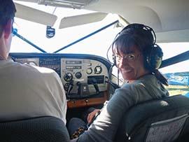 Lin ready for take-off enroute to Lake Clark, Alaska.