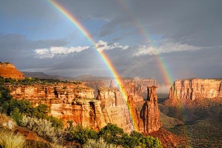 Double Rainbow Over Colorado National Monument