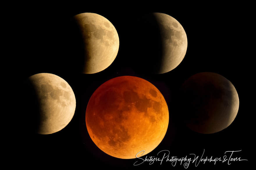 Blood moon during full lunar eclipse