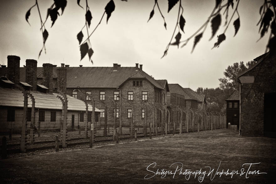 Grey skies at Nazi Auschwitz concentration camp