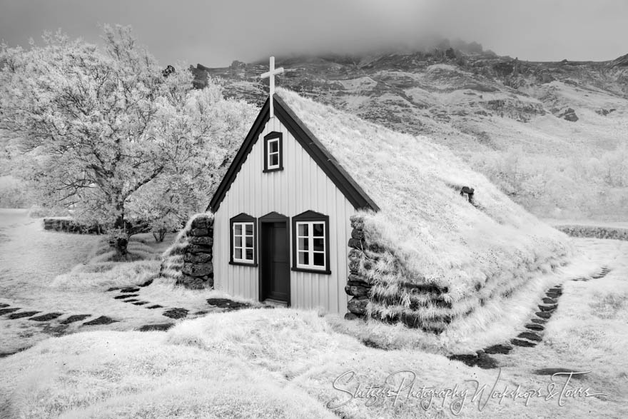 Black and White Infrared Iceland Church